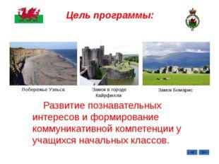Цель программы: Побережье Уэльса Замок в городе Кайрфилли Замок Бомарис Разви