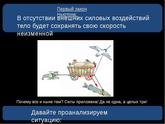 Первый закон Ньютона: В отсутствии внешних силовых воздействий тело будет со...
