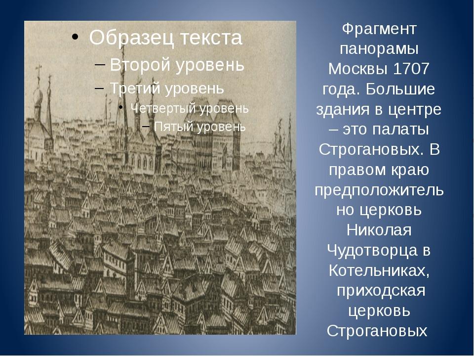 Фрагмент панорамы Москвы 1707 года. Большие здания в центре – это палаты Стро...