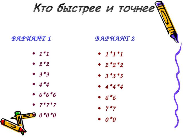 ВАРИАНТ 1 1*1 2*2 3*3 4*4 6*6*6 7*7*7 0*0*0 ВАРИАНТ 2 1*1*1 2*2*2 3*3*3 4*4*4...