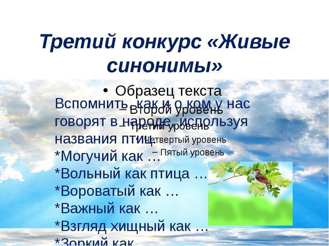 Третий конкурс «Живые синонимы» Вспомнить, как и о ком у нас говорят в народе...