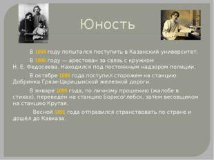 Юность В 1884году попытался поступить в Казанский университет. В 1888году—