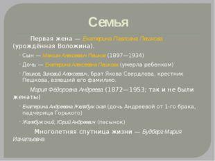 Семья Первая жена— Екатерина Павловна Пешкова (урождённая Воложина). Сын— М