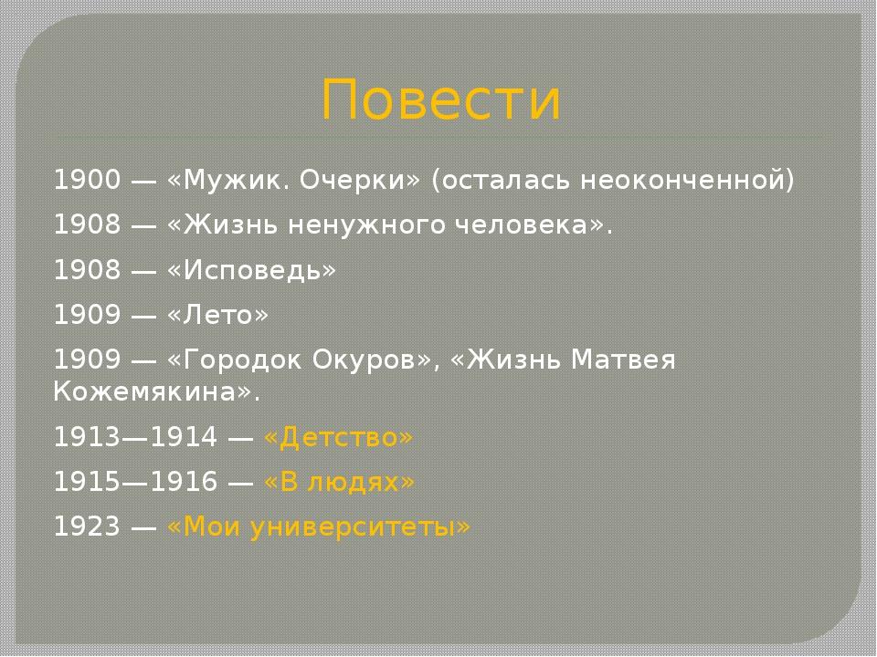 Повести 1900 — «Мужик. Очерки» (осталась неоконченной) 1908— «Жизнь ненужног...