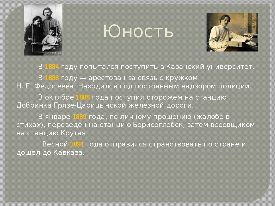 Юность В 1884году попытался поступить в Казанский университет. В 1888году—...