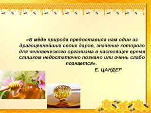 «B мёде природа предоставила нам один из драгоценнейших своих даров, значение