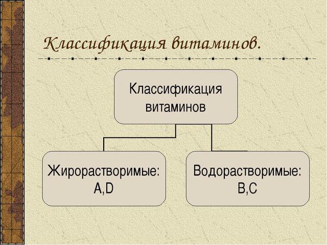 Классификация витаминов.