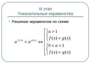 III этап Показательные неравенства Решение неравенств по схеме