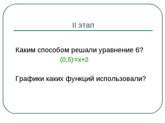II этап Каким способом решали уравнение 6? (0,5)х=х+2 Графики каких функций и...