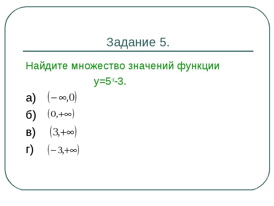 Задание 5. Найдите множество значений функции у=5-х-3. а) б) в) г)