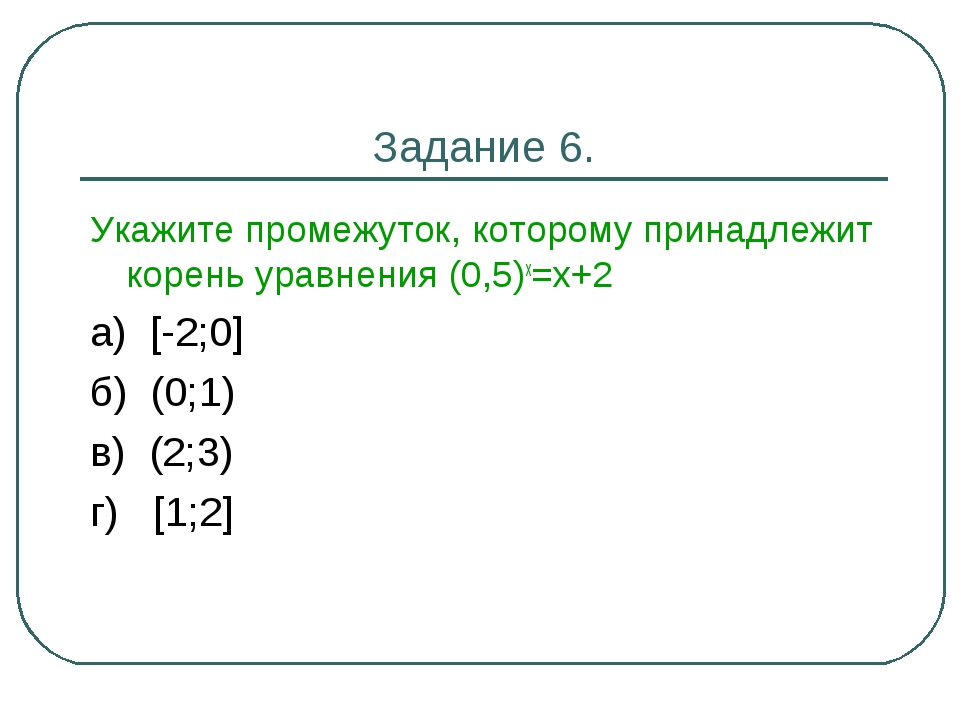 Задание 6. Укажите промежуток, которому принадлежит корень уравнения (0,5)х=х...