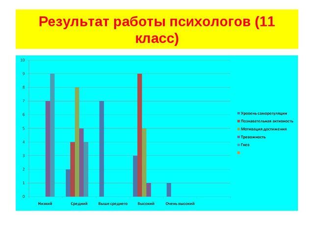 Результат работы психологов (11 класс)