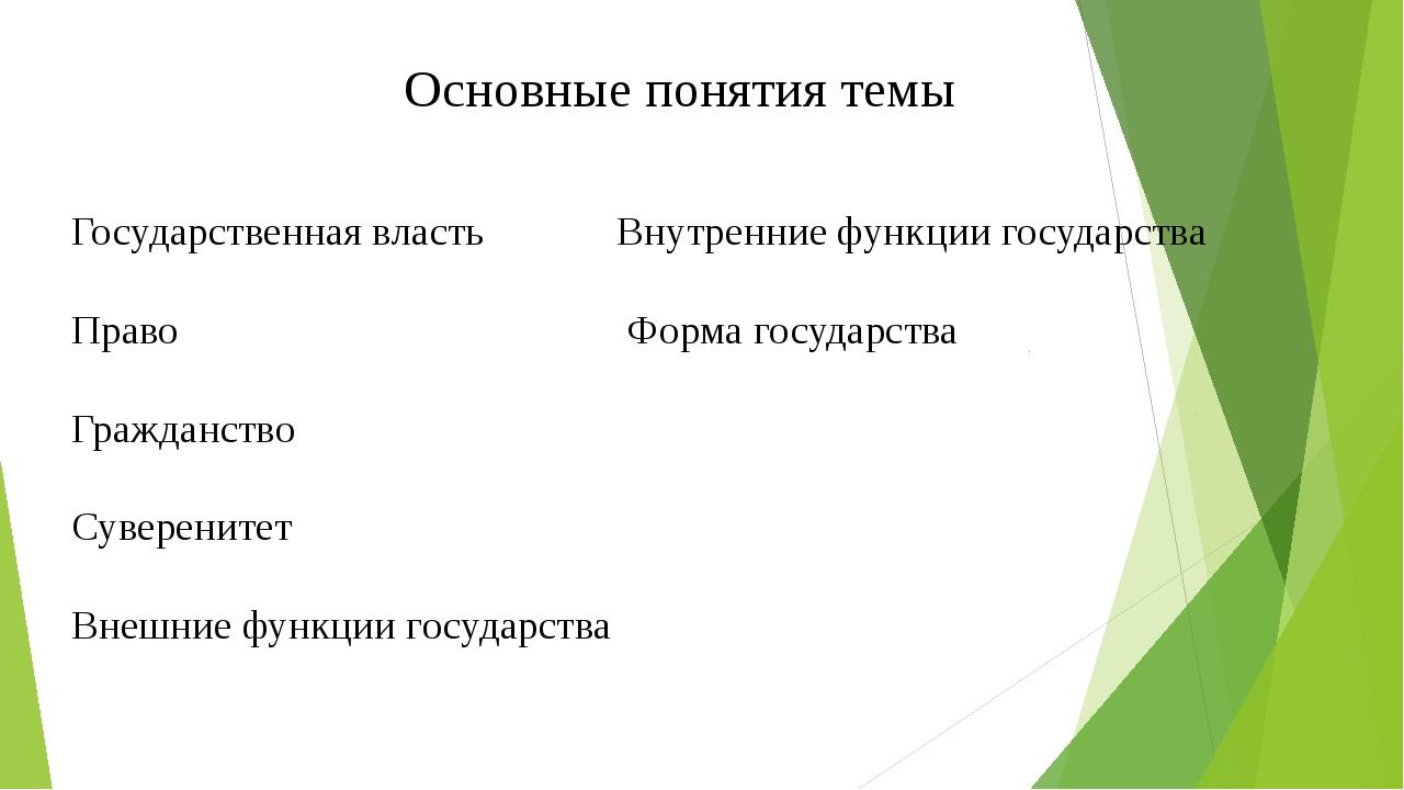 Основные понятия темы Государственная власть Внутренние функции государства П...