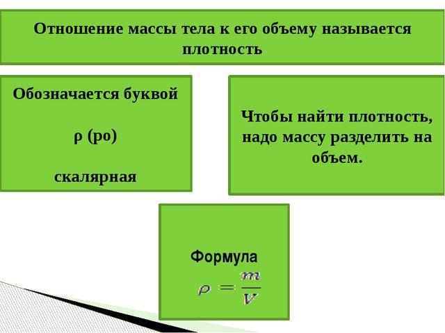 Отношение массы тела к его объему называется плотность Обозначается буквой ρ...