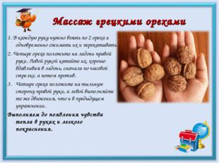 Массаж грецкими орехами 1. В каждую руку нужно взять по 2 ореха и одновременн