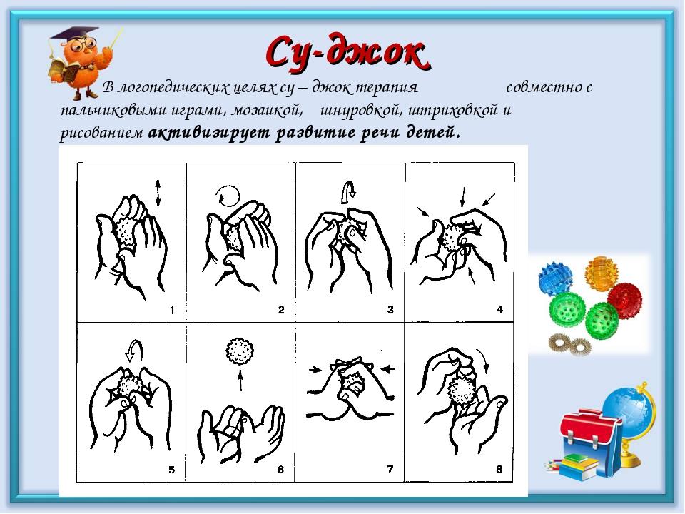 Су-джок В логопедических целях су – джок терапия совместно с пальчиковыми игр...
