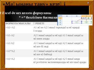 """Microsoft Excel-де кез келген формуланы """" ="""" белгісінен басталады «Мағынаны"""