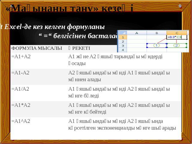 """Microsoft Excel-де кез келген формуланы """" ="""" белгісінен басталады «Мағынаны..."""