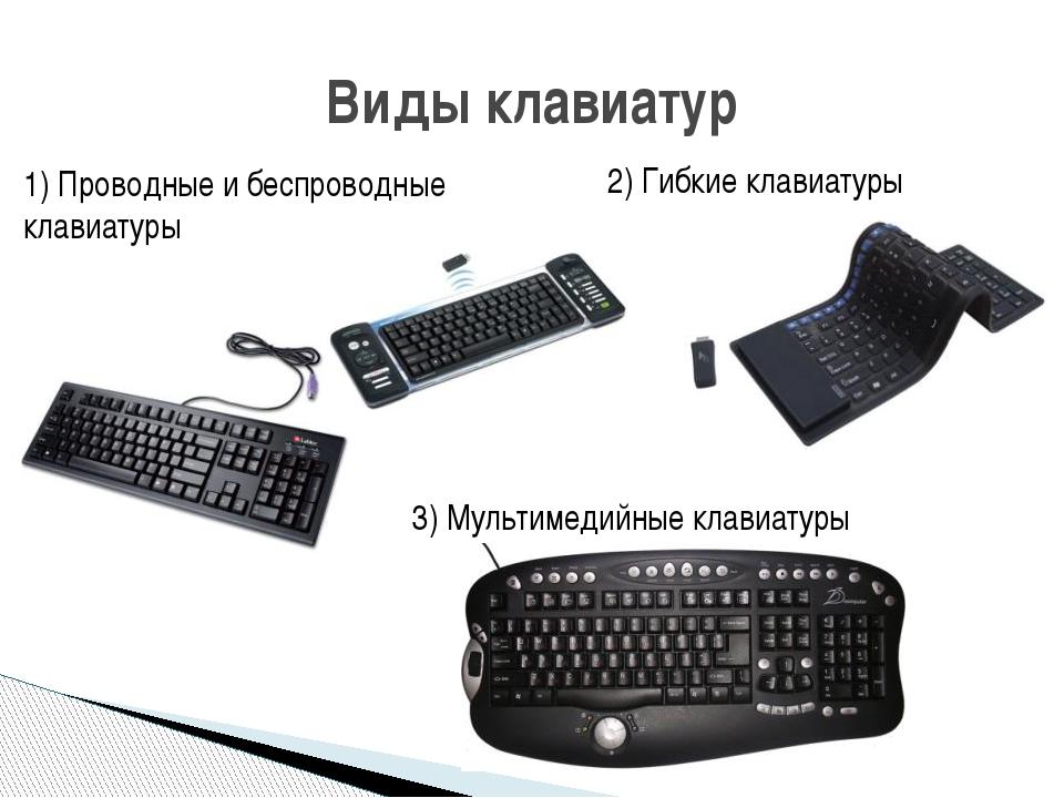 1) Проводные и беспроводные клавиатуры Виды клавиатур 2) Гибкие клавиатуры 3)...