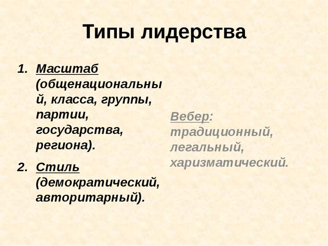 Типы лидерства Масштаб (общенациональный, класса, группы, партии, государства...