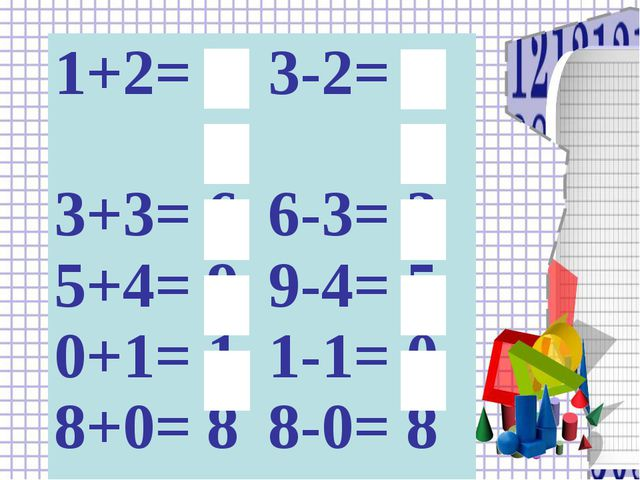 1+2= 3 3+3= 6 5+4= 9 0+1= 1 8+0= 8 3-2= 1 6-3= 3 9-4= 5 1-1= 0 8-0= 8