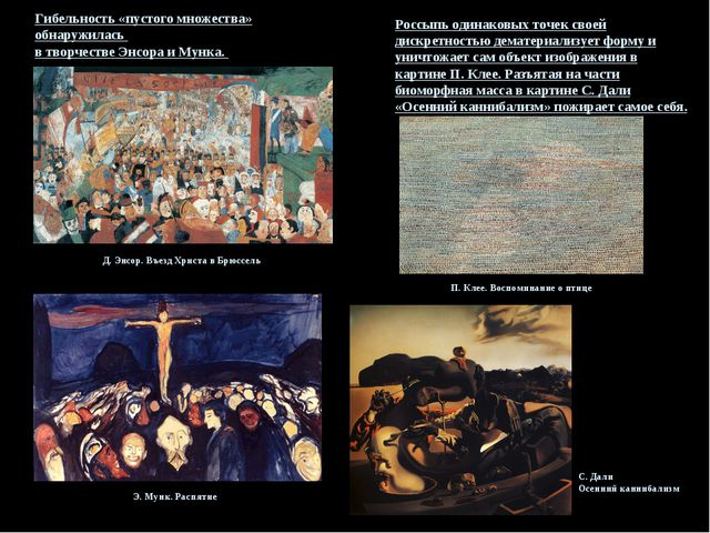 Гибельность «пустого множества» обнаружилась в творчестве Энсора и Мунка. Д....