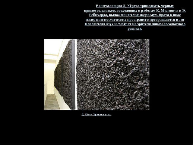 Д. Хёрст. Хроники рака В инсталляции Д. Хёрста тринадцать черных прямоугольни...