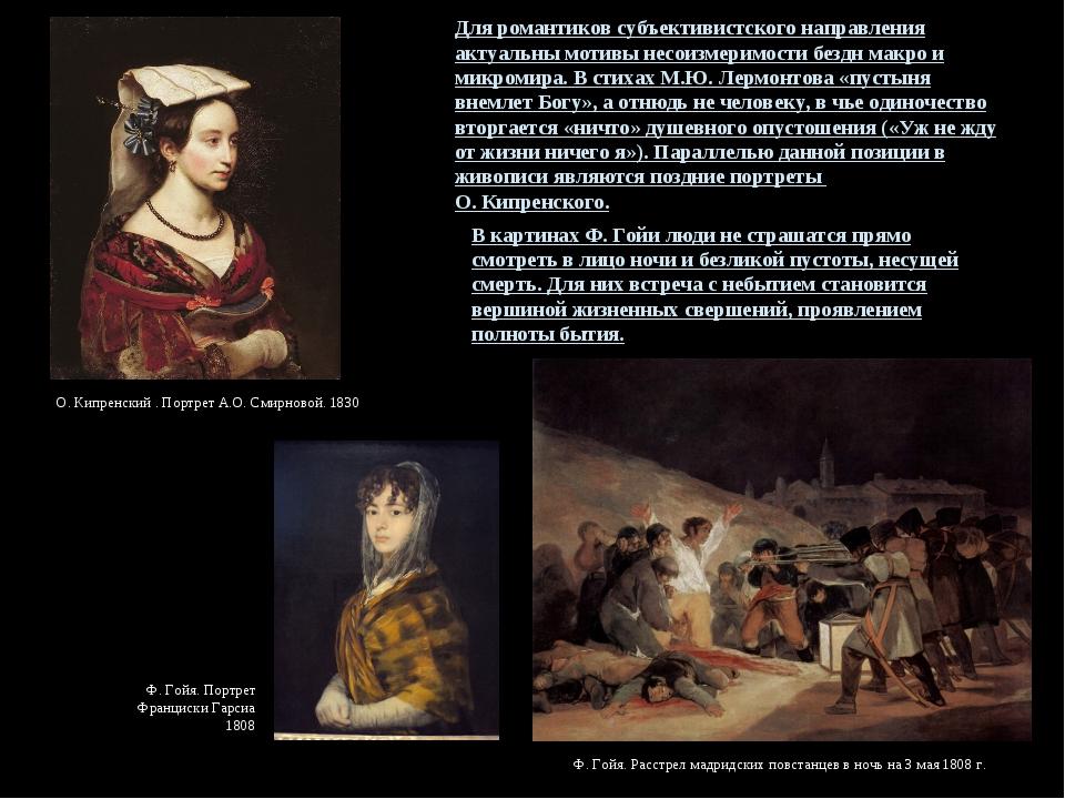 О. Кипренский . Портрет А.О. Смирновой. 1830 Ф. Гойя. Портрет Франциски Гарси...