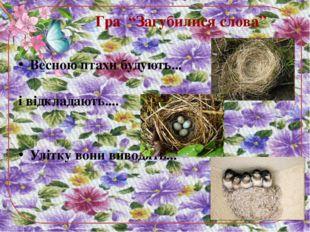 """Гра """"Загубилися слова"""" Весною птахи будують... і відкладають.... Улітку вони"""