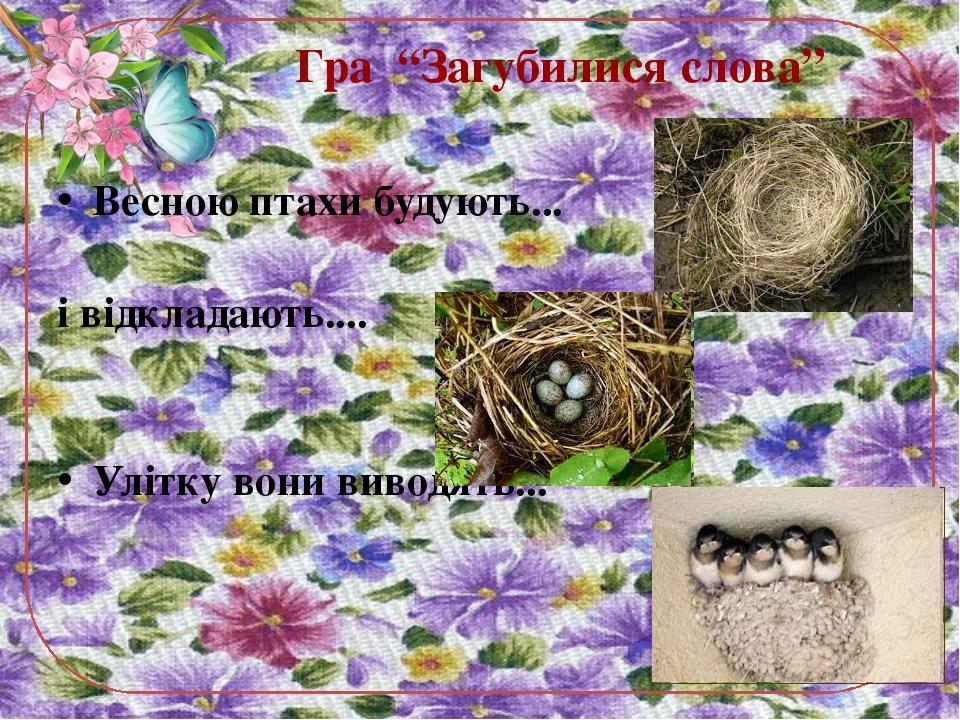 """Гра """"Загубилися слова"""" Весною птахи будують... і відкладають.... Улітку вони..."""