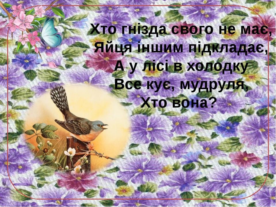Хто гнізда свого не має, Яйця іншим підкладає, А у лісі в холодку Все кує, му...