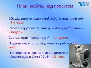 План работы над проектом Обсуждение направлений работы над проектом - 1,5 час