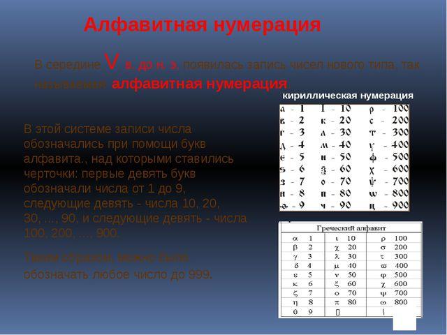 В середине V в. до н. э. появилась запись чисел нового типа, так называемая а...