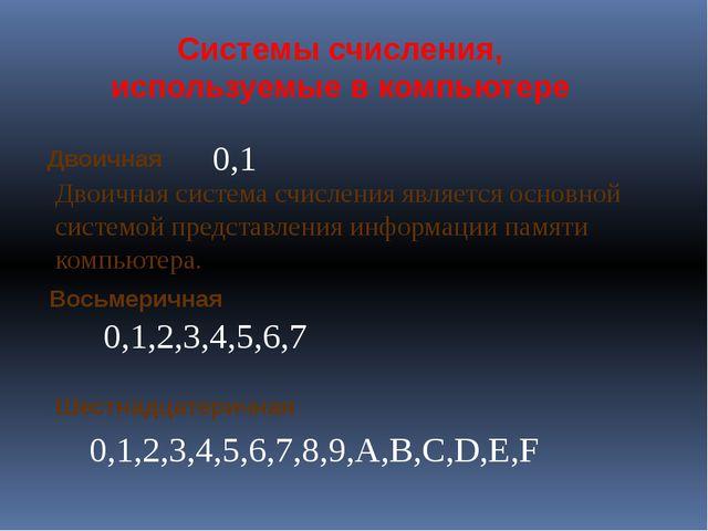 Восьмеричная Системы счисления, используемые в компьютере Двоичная Шестнадцат...