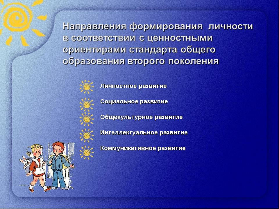 * Личностное развитие Социальное развитие Общекультурное развитие Интеллектуа...