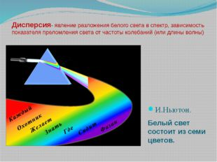 Дисперсия- явление разложения белого света в спектр, зависимость показателя п