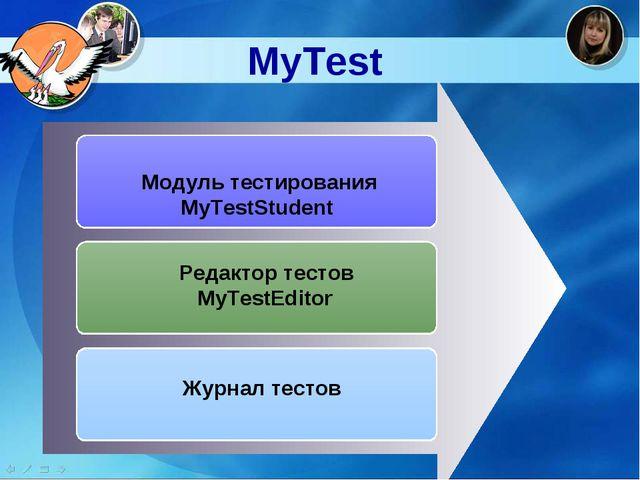 MyTest  Модуль тестирования MyTestStudent Редактор тестов MyTestEditor Журна...