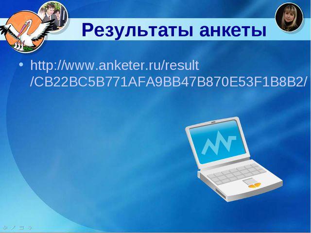 Результаты анкеты http://www.anketer.ru/result/CB22BC5B771AFA9BB47B870E53F1B...