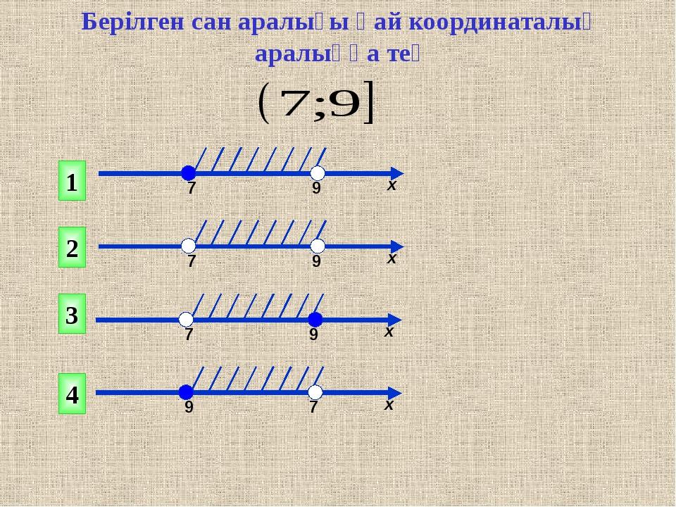 Берілген сан аралығы қай координаталық аралыққа тең 1 2 4 3 7 9 х 7 9 х 7 9 х...