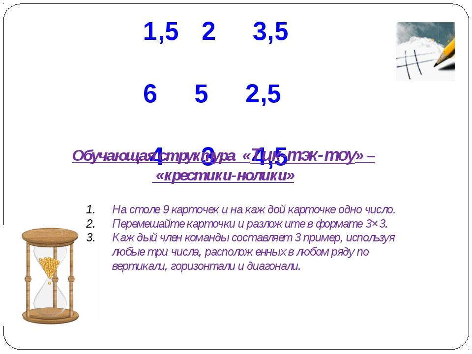 1,5 2 3,5 6 5 2,5 4 3 4,5 Обучающая структура «Тик-тэк-тоу» – «крестики-нолик...