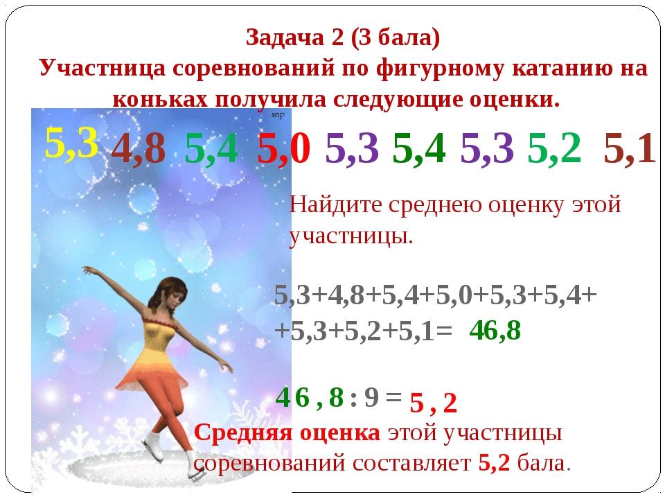 Задача 2 (3 бала) Участница соревнований по фигурному катанию на коньках полу...