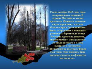 Стоял декабрь 1943 года. Зина возвращалась с задания. В деревне Мостище ее вы