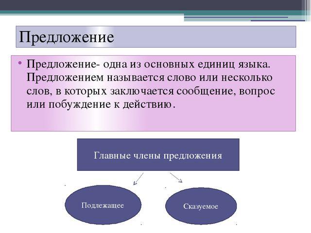 Предложение Предложение- одна из основных единиц языка. Предложением называет...