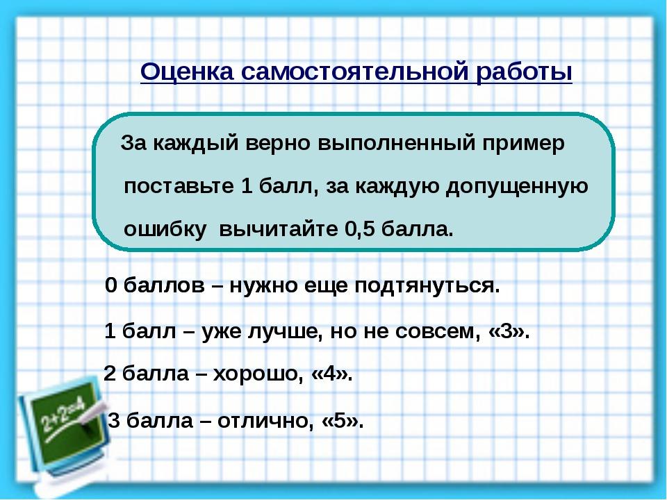 Оценка самостоятельной работы За каждый верно выполненный пример поставьте 1...