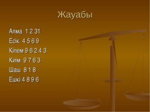 Жауабы Алма 1 2 31 Есік 4 5 6 9 Кілем 9 6 2 4 3 Киім 9 7 6 3 Шаш 8 1 8 Ешкі 4