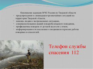 Основными задачами МЧС России по Тверской области предупреждение и ликвидаци
