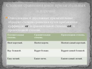 Односложные и двусложные прилагательные образуют степени сравнения путем приб