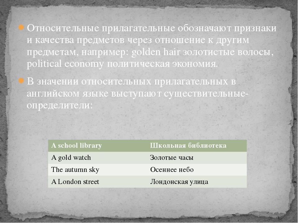Относительные прилагательные обозначают признаки и качества предметов через о...