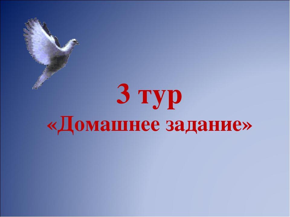3 тур «Домашнее задание»
