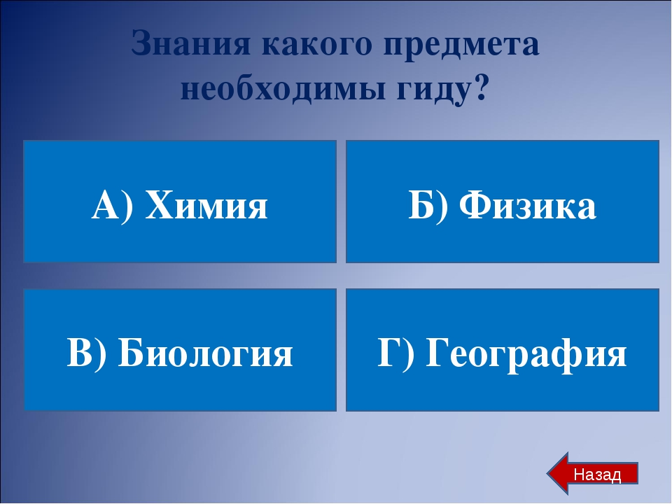 Знания какого предмета необходимы гиду? А) Химия Б) Физика В) Биология Г) Гео...